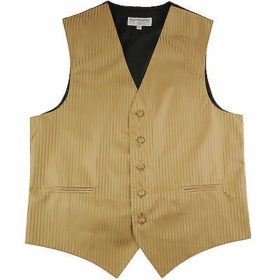 New polyester men's tuxedo vest waistcoat only tone on tone stripes formal Gold