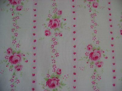 Yuwa/Urbangardens Chic Wallpaper Stripe Shabby Pink Roses on Pink Lawn 1 Yd.