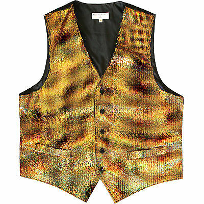 New polyester men's tuxedo vest waistcoat only Sequins Gold wedding prom formal