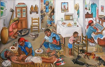 """Interior Scene"" by Wilson Bigaud- Naive Haitian Art - 36 in x 24 in - Framed"
