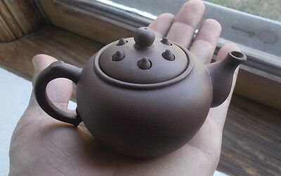 Early Miniature Brown Earthenware Teapot With Vented Lid Chinese Signed