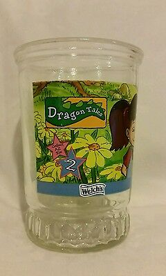 """Dragon Tales 4""""  Jelly Jar Glass Juice Cup, Welch's #2, """"Planting Wild Flowers."""""""