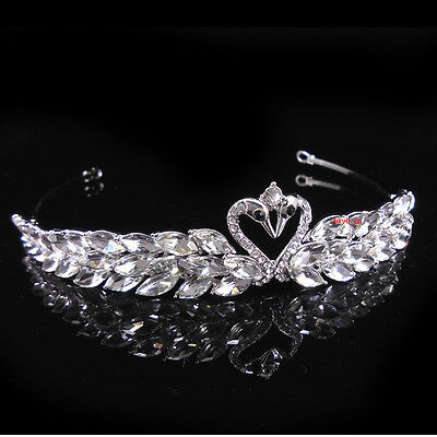 """Little Swans Adult Girl Kids Crystal Wedding Party Pageant Prom Crown Tiara 5"""" W"""