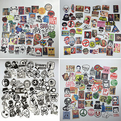 50pcs Mixed Waterproof Funny Skateboard Snowboard Laptop Luggage Stickers