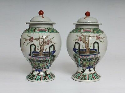 Exquisite Pair Chinese Famille Rose Porcelain Pots Marked (L851)
