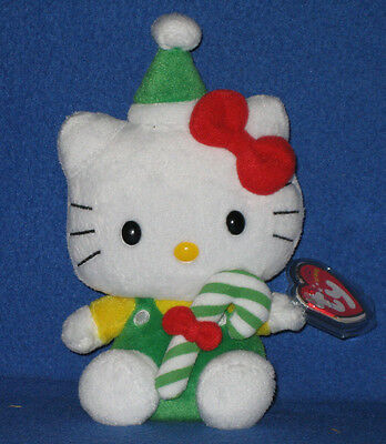 TY HELLO KITTY GREEN CANDY CANE BEANIE BABY - MINT with MINT TAGS