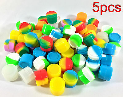5pcs 2ml Silicone Container Jar Non-Stick Mixed colors Round Wholesale lot