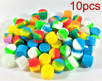 10pcs 2ml Silicone Container Jar Non-Stick Mixed colors Round Wholesale lot
