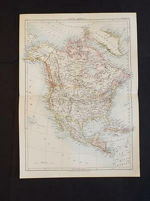 OLD VINTAGE MAP - NORTH AMERICAN CONTINENT - ANTIQUE COLOUR PRINT c1910