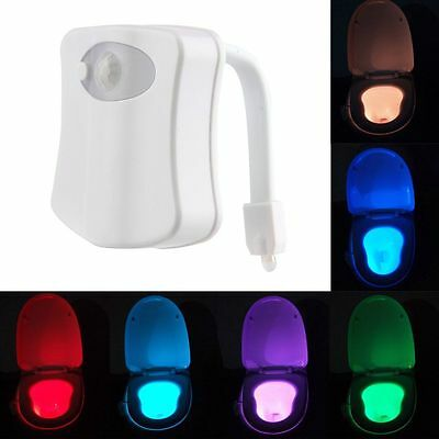 LED Home Toliet Bathroom Human Body Auto Motion Sensor Seat IR Night Light lamp