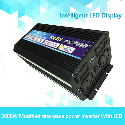 3000W (6000W Peak) POWER INVERTER DC24V-AC240V WITH SOFT START, VOLTAGE DISPLAY