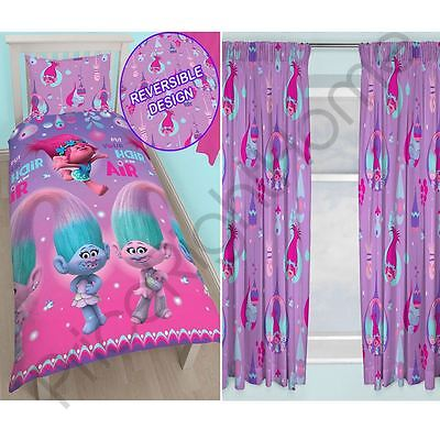"Trolls Glow Single Duvet Cover Set Rotary + Matching 54"" Curtains"