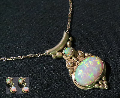 Vintage RB Sterling Silver Opal Pendant Necklace & Matching Earrings Set