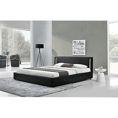 [My.Bed] LED Upholstered bed 140x200cm black imitation leather Double Bedstead