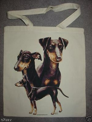 Manchester Terrier Dogs On  A Tote Canvas Bag