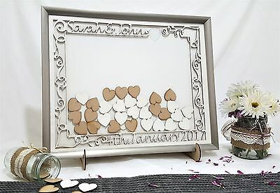 Wedding Guest Book Drop Box/Silver Personalised Frame/With Stand+Hearts