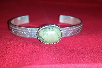 GORGEOUS Authentic Navajo Indian Green Turquoise Sterling Silver Bracelet Sami