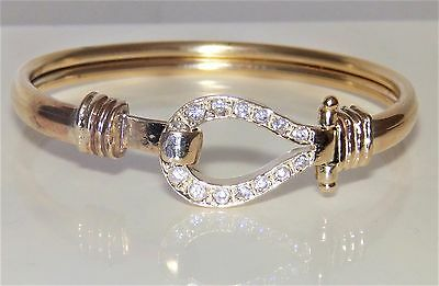 9CT YELLOW GOLD STONE SET BABY  BANGLE BRACELET 7.2g