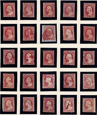 #11A x 25 - 3 Cent 1851-7, Fancy Red cancels: grids, wedges, shields, PAID, CDS