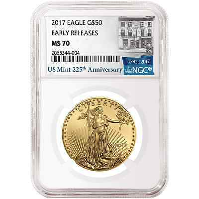 2017 $50 American Gold Eagle 1 oz. NGC MS70 225th Anniversary ER Label
