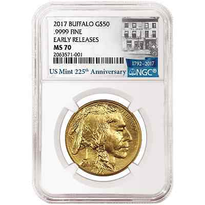 2017 $50 American Gold Buffalo 1oz. NGC MS70 225th Anniversary ER Label