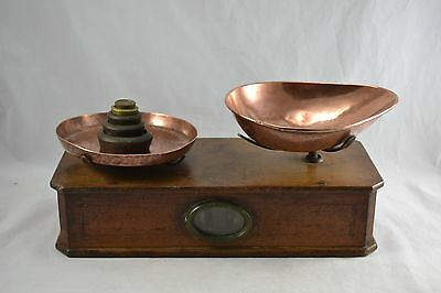 ANTIQUE AVERY wooden mahogany scales with copper pans 4lbs Victorian C19th