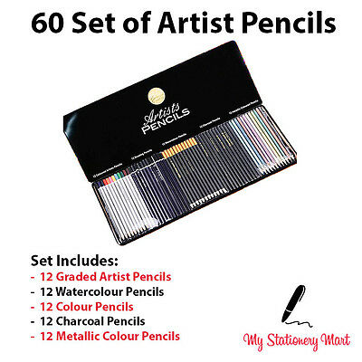 60 Set Artists Pencils Watercolour Metallic Graded Sketching Drawing Pencil