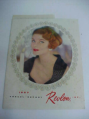 nice vintage revlon inc 1957 annual report  shows products great graphics cover
