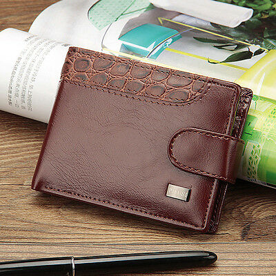 Luxury Men's PU Leather Wallet Pocket Card Clutch ID Credit Holder Bifold Purse