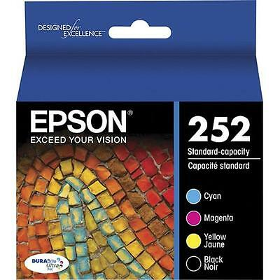 4-PACK Epson GENUINE 252 Black & Color Ink (NO RETAIL BOX) for WORKFORCE WF-3640