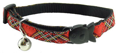 Royal Stewart Tartan CAT COLLAR with fish-shaped safety release and bell.
