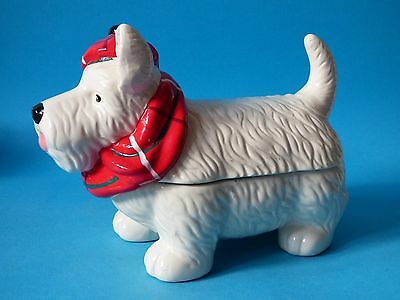 Giant Collectable White Ceramic Westie West Highland Terrier Dog Biscuit Barrell