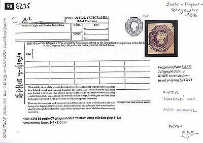 E235 1893 GB EMBOSSED 6d Purple *Dundee*CDS ex Used Telegraph Form RARE Survival