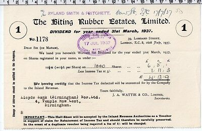 The Biting Rubber Estates Limited - Share Dividend Certificate - 1937