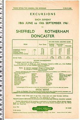 1961 SHEFFIELD ROTHERHAM DONCASTER Handbill - London Midland - Excursions