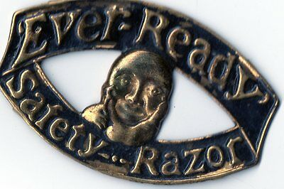 Ever-Ready Safety Razor Vintage Tin Logo Plate w/Man Shaving