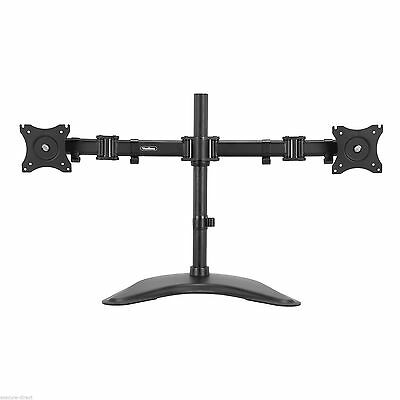 "VonHaus Double Twin Arm LCD LED Monitor Mount Desk Stand for 13-27"" Screens"