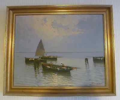 Oil on canvas painting lake geneva fisherman and boats sgd  DE  LUCA