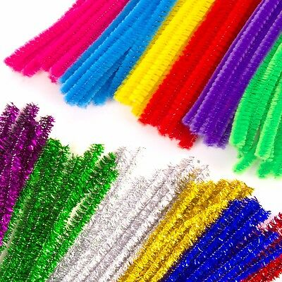 BRIGHT/GLITTER COLOURED PIPE CLEANERS 300mm Long Bendy Craft Wire Stems Tinsel