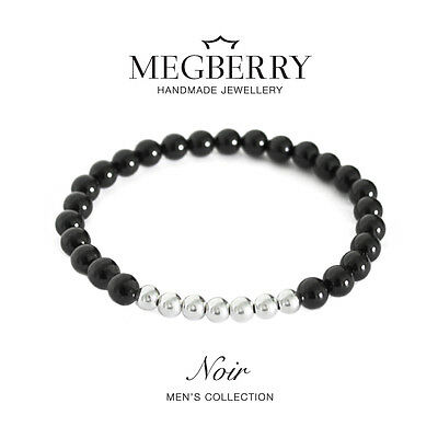 MEGBERRY Mens Beaded Bracelet - Black Onyx & 925 Sterling Silver - Custom Size