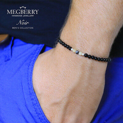 MEGBERRY Mens Bead Bracelet - Black Onyx & 925 Solid Sterling Silver Custom Size