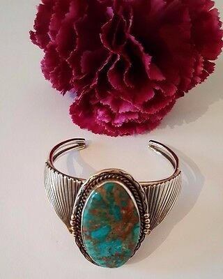 Design Armreif TOP NAVAJO TOM WILLETO STERLING TÜRKIS silver vintage bracelet