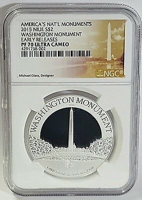 2015 Niue S$2 Washington Monument  PF70 1 oz Silver Coin Early Releases U/C