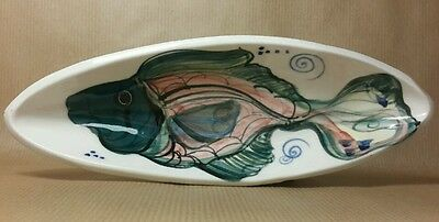 Art Pottery Dish Hand Painted Sea Fish Beach Design Signed Pottery Gift