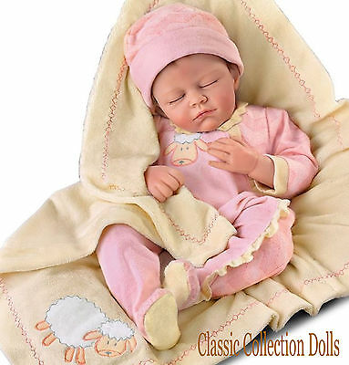 "Ashton Drake ""COUNTING SHEEP""-LIFELIKE BABY GIRL DOLL-NEW-IN STOCK"