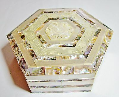 Attractive large mother of pearl & abalone jewellery trinket box