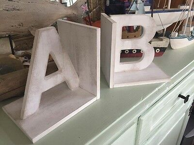 New England Personalised Initials Bookends White Distressed Large Wood Letters