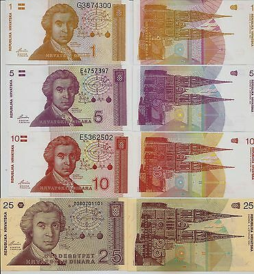 Croatia : 4 Piece set, The first notes issued by the new Croatian state. UNC.