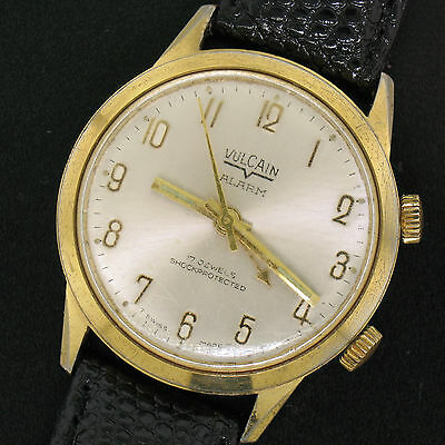 Vintage Men's 34mm Vulcain 17 Jewel Mechanical Shock Resistant Alarm Wrist Watch