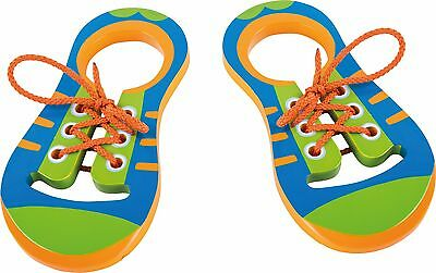 Wooden Lacing Shoe Learn to Tie Laces Shoelaces Practice Wood  Colourful NEW